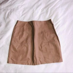 LF pink leather skirt